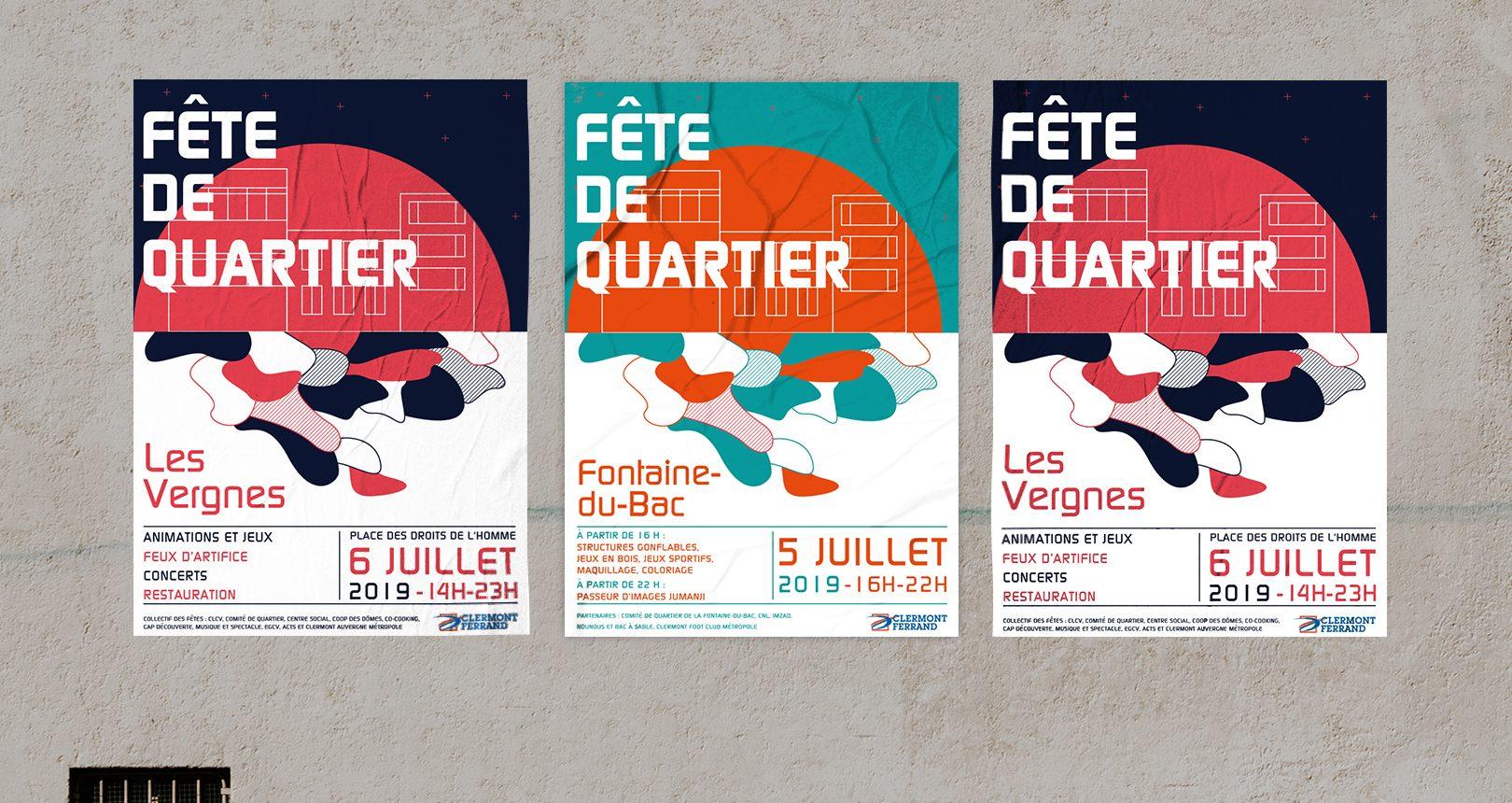 Affiche Fête de quartier, Ville de Clermont Ferrand
