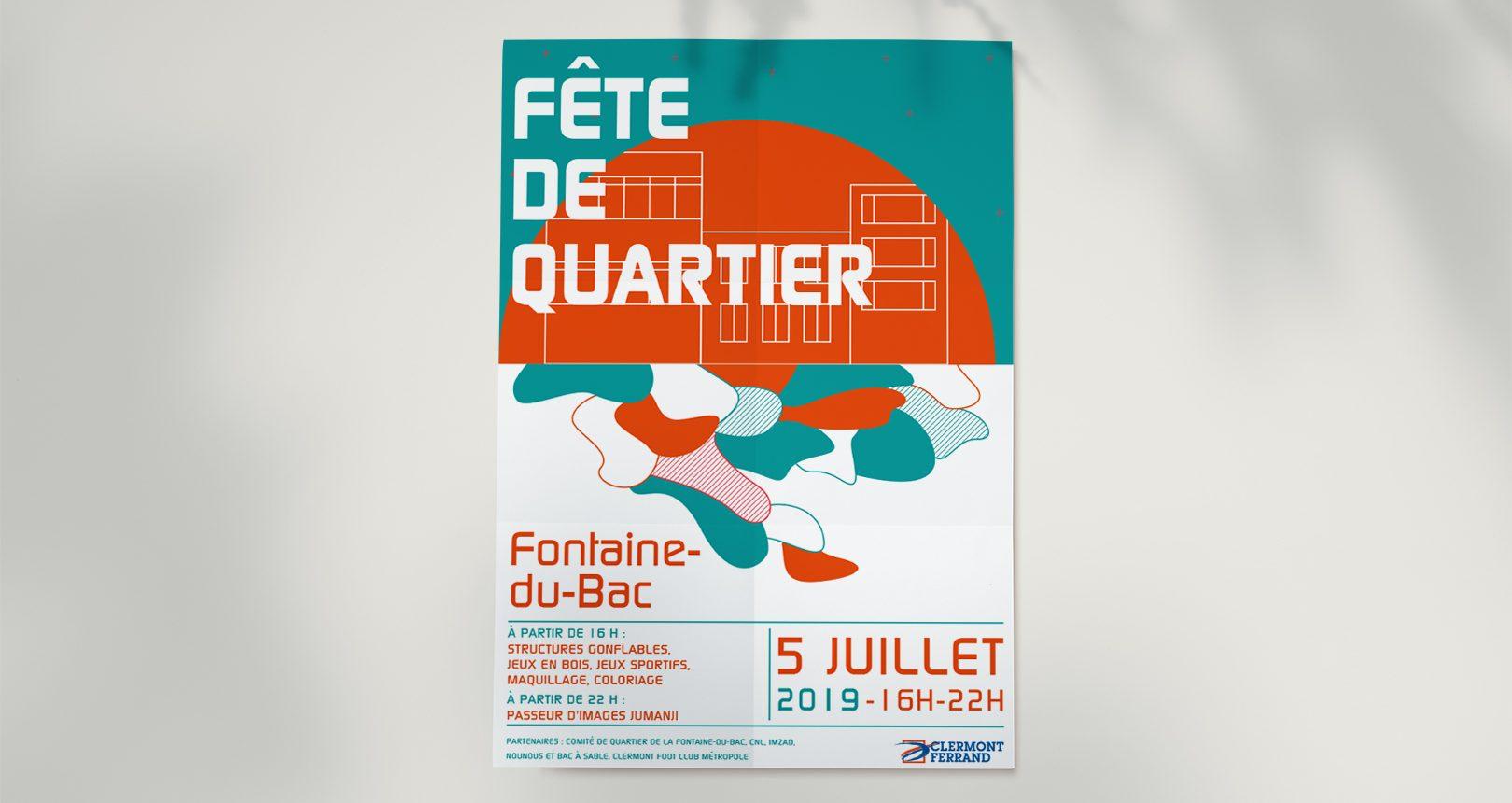 Affiche Fête de quartier, Ville de Clermont